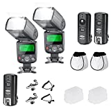 Neewer NW-670 TTL Flash Speedlite with LCD Display Kit for Canon DSLR Cameras,Includes:(2)NW-670 Flash,(1)2.4G Wireless Trigger(1 Transmitter, 2 Receivers),(2)Soft/Hard Diffuser,(2)Lens Cap Holder