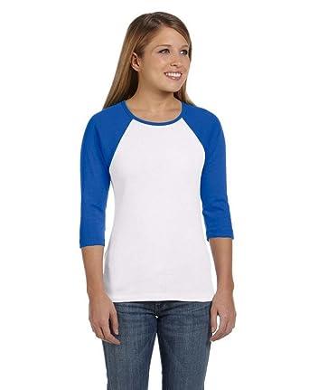 3b9c9a5460b79c Amazon.com: Bella Women's Baby Rib Contrast 3/4-Sleeve Raglan T-Shirt -  White/True Royal B2000 MEDIUM: Clothing