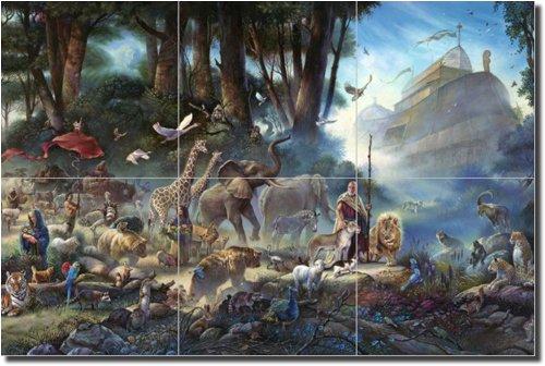 ''The Gathering'' by Thomas duBois - Artwork On Tile Ceramic Mural 12'' x 18'' Kitchen Shower Backsplash
