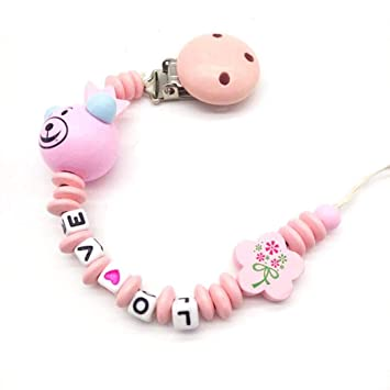 Baby Dummy Clip Holder Pacifier Clips Chains Wooden Bead Teething  HY