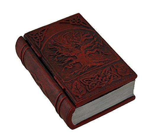 Zeckos Dark Red Embossed Tree of Life Book Look Trinket Box with Hinged -