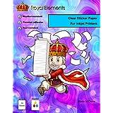 Royal Elements Clear Waterproof Sticker Paper - 10 Sheets Printable Vinyl - for Inkjet Printers