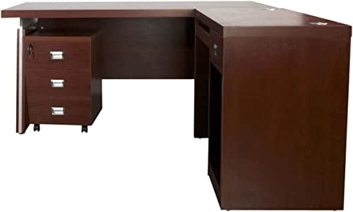 Mahmayi Wood Dupla Modern Executive Desk, ME3216APL, Apple Cherry, H75 x W180 x D160 cm, Require Assembly