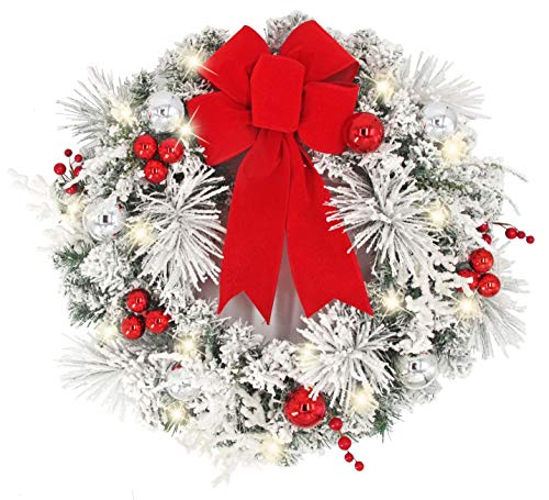 Warren&Winsley Sale Prelit Cordless LED Snowy Holiday Red & Silver Wreath (24
