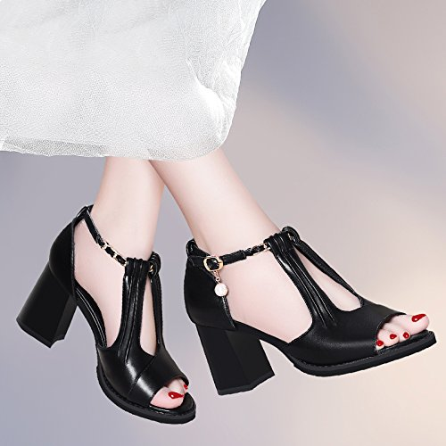 Jqdyl Tacones Sandalias, mujeres, con, nuevo, verano, zapatos salvaje, tacones altos, zapatos, con, grueso, zapatos, pescado, boca, zapatos D black