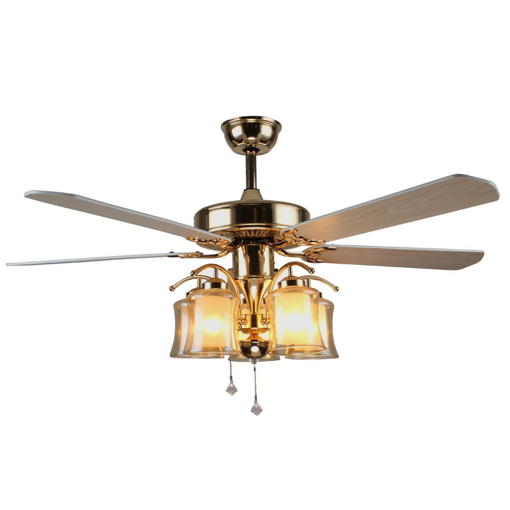 Tropicalfan Vintage Quiet Ceiling Fan With 5 Glass Cover and 5 Wood Blade Decorative Windward Fans Chandelier For Home Living Room Dinner Room 52 Inch