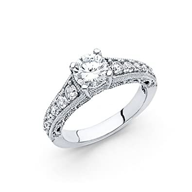 28bace3f2b92a3 American Set Co. 14k White Gold CZ Antique Cathedral Pave Engagement Ring |  Amazon.com