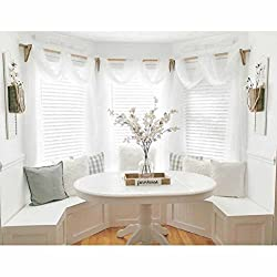 WINOMO Solid Curtain Sheer Voile Scarves Draperies Curtains (White)