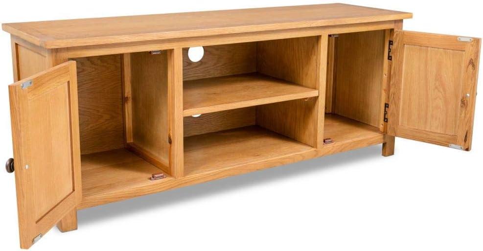 color marr/ón madera r/ústica, con puertas y compartimentos, 120 x 35 x 48 cm Mueble para TV MISLD