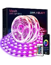 KOOSEED MESH taśma świetlna LED z funkcją zmiany koloru, 20 m, sterowanie grupą, pilot zdalnego sterowania, tryb muzyczny, samoprzylepny łańcuch świetlny LED 5050 RGB, na imprezę, do domu, sypialni
