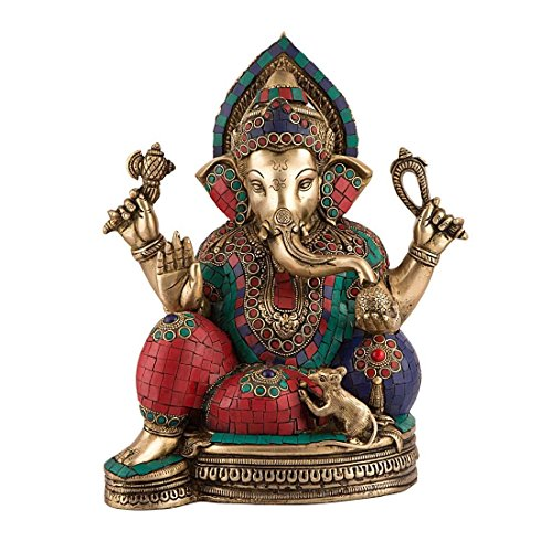 1.1 FT Tall Big Ganesha Idol – Brass Sculpture with Colorful Turquoise Coral Gemstone Work Antique Look Solid Brass Weight 9 KG Large Statue Artifact of Hindu Elephant Headed God Ganesha