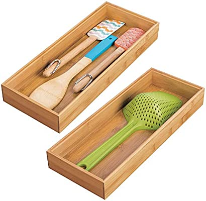 mDesign Juego de 2 separadores de cajones para la cocina – Organizadores para cajones modulares para cubertería y más – Cubertero de bambú para ...