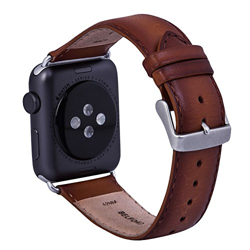 Watch Band 42 mm Vegetable Tanned Hand Coloured Leather iWatch Strap Replacement Band with Stainless Metal Clasp for Apple Watch Series 3 2 1 Sport (Dual Tone) + Adaptor - BELFORD (Coloured Leather)