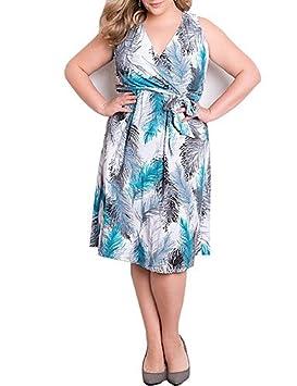 DESY Mujer Corte Ancho Vestido Tallas Grandes Noche Fiesta/Cóctel Vintage,Estampado Escote en
