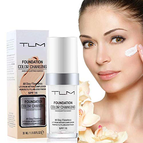 TLM Concealer Cover, Flawless Colour Changing Foundation Makeup Base Warm Skin Tone Nude Face Liquid Moisturizing Cover Concealer for Girls Women (TLM Concealer Cover)