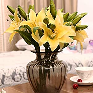1pc 3 Heads Real Touch PVC Artificial Silk Lily Flower Wedding Garden Decoration Home Farmhouse Decor Festival Gift A6540,A65-5 2