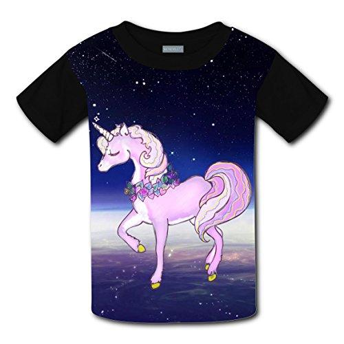 Unicorn Space Travel Coustom Kids Short Sleeve T-Shirt Boys Girls Tee Soft Round Shirt Tops (Halloween Coustoms)