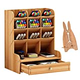 Marbrasse Wooden Desk Organizer, Multi-Functional