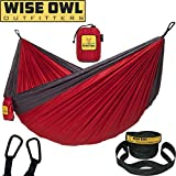 Wise Owl Outfitters Hammock for Camping Single & Double Hammocks Gear for The Outdoors Backpacking Survival or Travel - Portable Lightweight Parachute Nylon DO Red & Charcoal