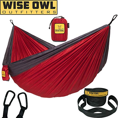 Hammock for Camping Single & Double Hammocks Gear for The Outdoors Backpacking Survival or Travel - Portable Lightweight Parachute Nylon DO Red & Charcoal ()