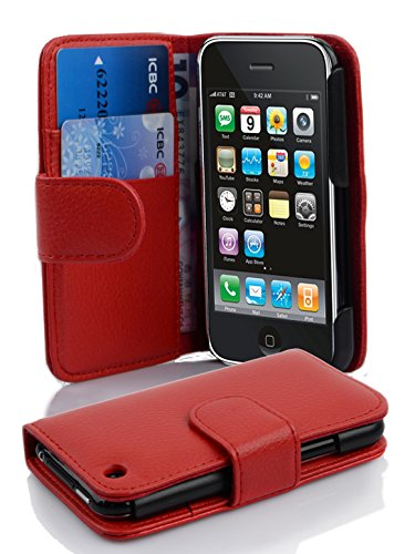 with Apple iPhone 3 / iPhone 3GS in Candy Apple RED (Design Book Structure) – with 2 Card Slots – Wallet Case Etui Cover Pouch Flip ()