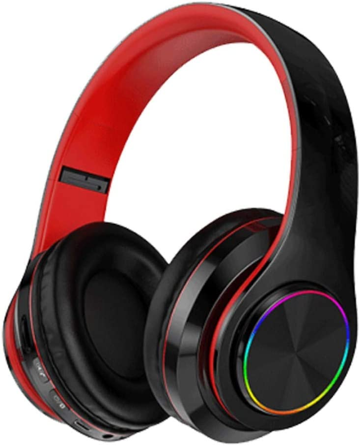 Amazing 7 B39 Bluetooth Headphones with 8Hours Playtime, Wireless Headsets Over Ear, Hi-Fi Stereo, Multi-Colored Breathing Led, Built-in Mic, Snug Fit Earphones for Game Video DJ (Black Red)