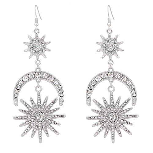 - HSWE Star Burst Earrings Star and Moon Dangle Ear Hook Crystal Earrings Silver