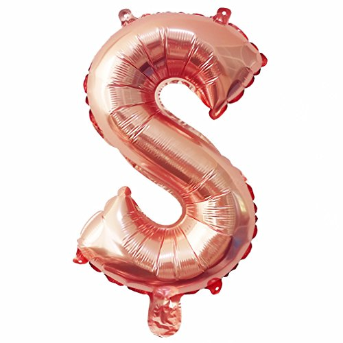 Glanzzeit® 16 inch Rose Gold Balloons Letter A to Z Number 0 to 9 Foil Balloons for Wedding Prom Birthday Party Baby Shower Christmas Decor (Letter S)