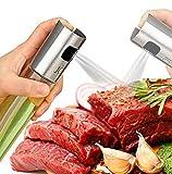2 Pack Olive Oil Sprayer Sauce Vinegar Transparent Glass Bottle Dispenser for BBQ/Cooking Stainless Steel Leak- Proof Drops