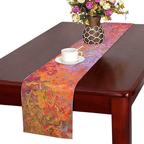 (Jnseff Texture Pattern Vintage Abstract Color Table Runner, Kitchen Dining Table Runner 16 X 72 Inch For Dinner Parties, Events,)