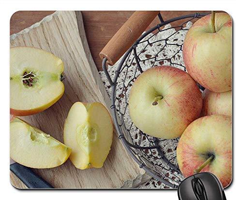 Mouse Pad - Apple Bio Apple Fruit Basket Basket Wooden Board ()