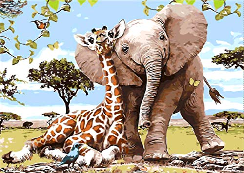 (DIY 5D Diamond Painting Kit, Elephant and Giraffe Crystal Embroidery Cross Stitch Arts Craft Canvas Wall Decor 16x12 inches)