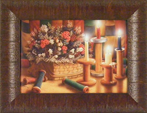 Homespun Treasures by Doug Knutson 10x13 Candles Dried Flowers Basket Thread Spools Country Framed Art Print Picture