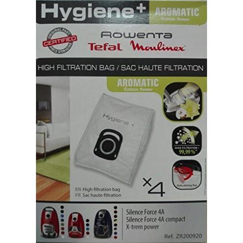 Pack de 4 sacs Haute Filtration Hygiene+ pour ROWENTA Silence Force / X-trem Power