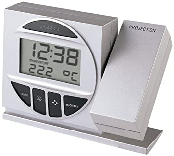Technoline Radio Controlled Alarm Clock with Projection Reloj de proyección, Plata y Negro, 12.3x4.2x9.1 cm