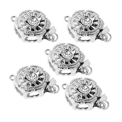 Hook Bracelet Buckle (Dovewill 5 Pieces Silver Tone Crystal CZ Necklace Bracelet Chain Push Buckle Clasps DIY Jewelry Findings - Silver 7, 1.3 x 0.9cm)