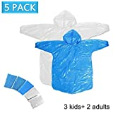Disposable Family Rain Ponchos 5 Pack,2 Adult Ponchos + 3 Children Ponchos, Adult Child Use, Raincoat with Drawstring Hood, Emergency Lightweight, for Outdoor Use Family Travel