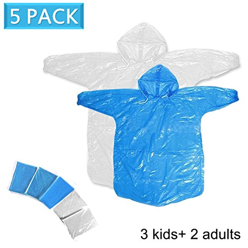 Disposable Family Rain Ponchos 5 Pack,2 Adult Ponchos + 3 Children Ponchos, Adult Child Use, Raincoat with Drawstring Hood, Emergency Lightweight, for Outdoor Use Family Travel by HUABEI