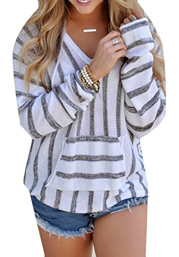 - Pivaconis Women's V-Neck Long Sleeve Stripe Hoodie Knit Pullover Sweaters With Hood Grey US M