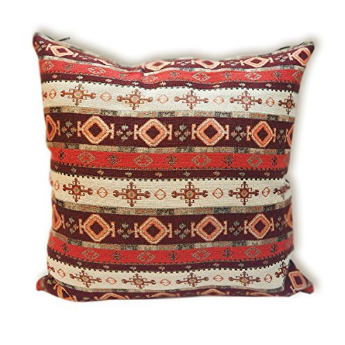 tamarind-bay-18-in-luxury-tapestry-double-sided-throw-pillow-cushion-cover-with-solid-back-apache