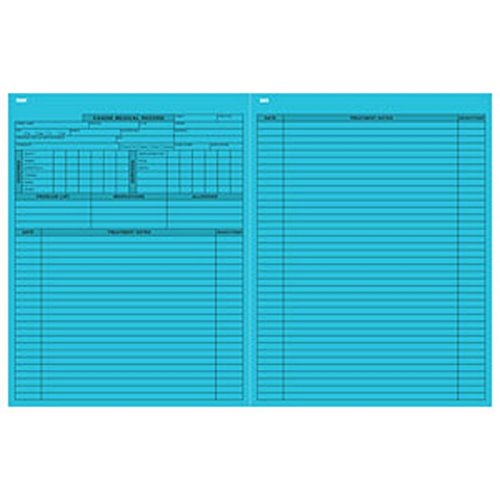 Pet Medical Record Form - Canine, Blue 8-1/2