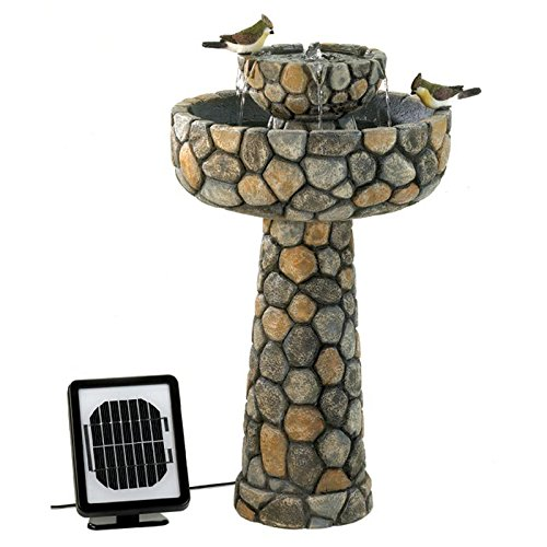 Outdoor Water Fountain Faux Cobblestone Free Standing Bird Bath Garden Patio Porch Decoration Yard Decor by Zingz