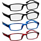 Reading Glasses 4.5 2 Black Red Blue Fashion Readers for Men & Women - Spring Arms & Dura-Tight Screws Have a Stylish Look and Crystal Clear Vision When You Need It!