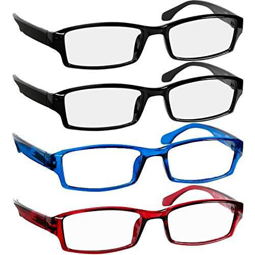 Reading Glasses 1.5 2 Black Red Blue Fashion Readers for Men & Women - Spring Arms & Dura-Tight Screws Have a Stylish Look and Crystal Clear Vision When You Need It! ()
