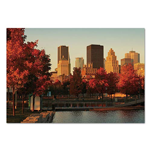 Large Wall Mural Sticker [ City,Old Port of Montreal Early in the Morning Scenic Autumn Trees Buildings Canada,Red Orange Brown ] Self-adhesive Vinyl Wallpaper / Removable Modern Decorating Wall Art