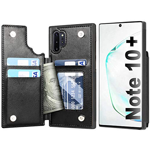Arae Case for Samsung Galaxy Note 10 Plus/Note 10 Plus 5G PU Leather Wallet Case with Card Pockets Back Flip Cover for Samsung Galaxy Note 10+ / Note 10+ 5G (Black)