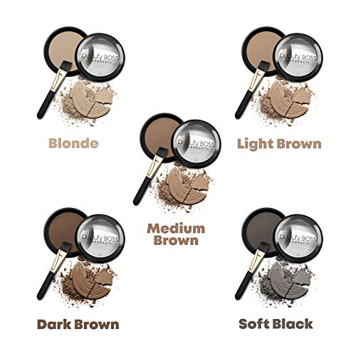 Eyebrow Powder Dark Brown – Natural Fill-in Eyebrow Makeup – Brow Powder Water Resistant Includes Small Brush
