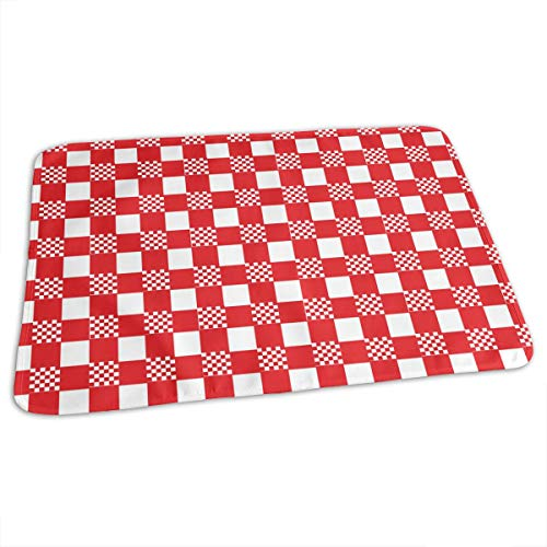 (Whages Lovely Baby Reusable Waterproof Portable Red and White Tablecloth Changing Pad Home Travel 27.5