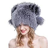 URSFUR Knited Silver Fox Full Fur Cats Hats with Pom Pom Natural Color
