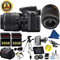 Nikon D5200 24.1 MP CMOS Digital SLR, NIKKOR 18-55mm f/3.5-5.6 Auto Focus-S DX VR, 2pcs 32GB DBPREMIUM Memory, Camera Case